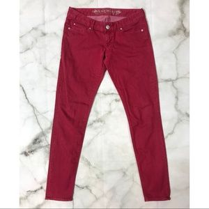 Express Jean Legging Slim Fit, Ultra Low Rise, Red